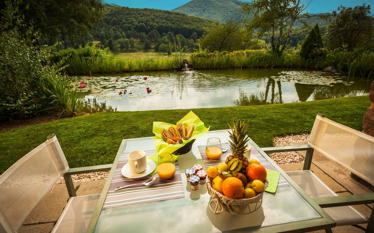 breakfast on an unusual occitanie hotel terrace