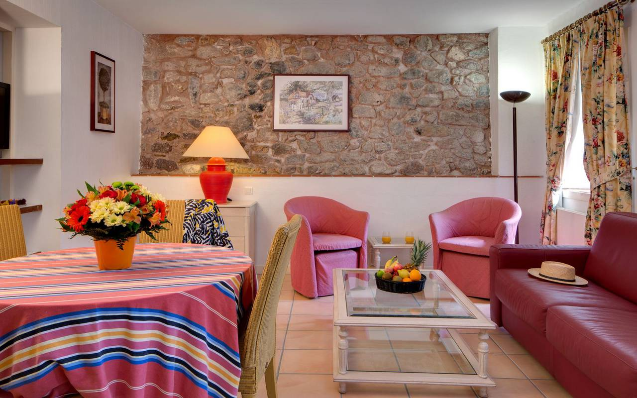 Sala de estar del apartamento 3 personas encantador hotel roussillon